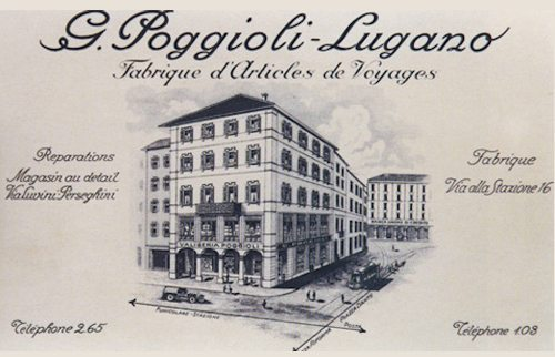 Advertisement for the Poggioli suitcase factory in Lugano, from the early 1900s