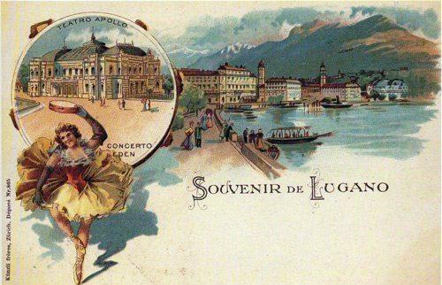 Chromolithograph - Souvenir of Lugano - F.lli Kunzli, Zurich - 1900