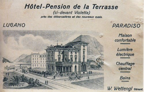 An advertisement for the Hotel de la Terrasse in Lugano-Paradiso (early 1900s)