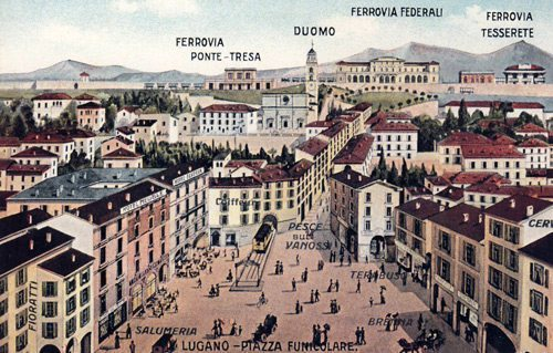 Aerial view of Piazza Funicolare in 1920 (picture by Photocromo Lugano)