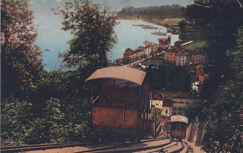 Mount Brè funicular railway in 1908 (printed by Colortype - Lugano)