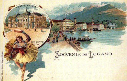 Lungolago storico di Lugano. In fondo si trovano oggi i nostri appartamenti in affitto.