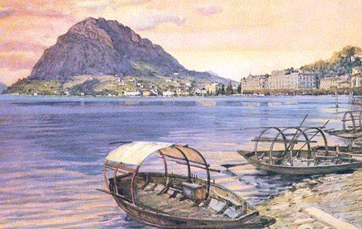 Dipinto del Monte San Salvatore, come ancora oggi si può ammirare dai nostri appartamenti in affitto a Lugano.